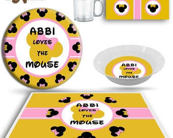 Kids Dish Children/'s Dinnerware PLATE  Loves the Cat  Cheshire Cat Alice in Wonderland inspired Plate and Bowl Set Childrens Tableware