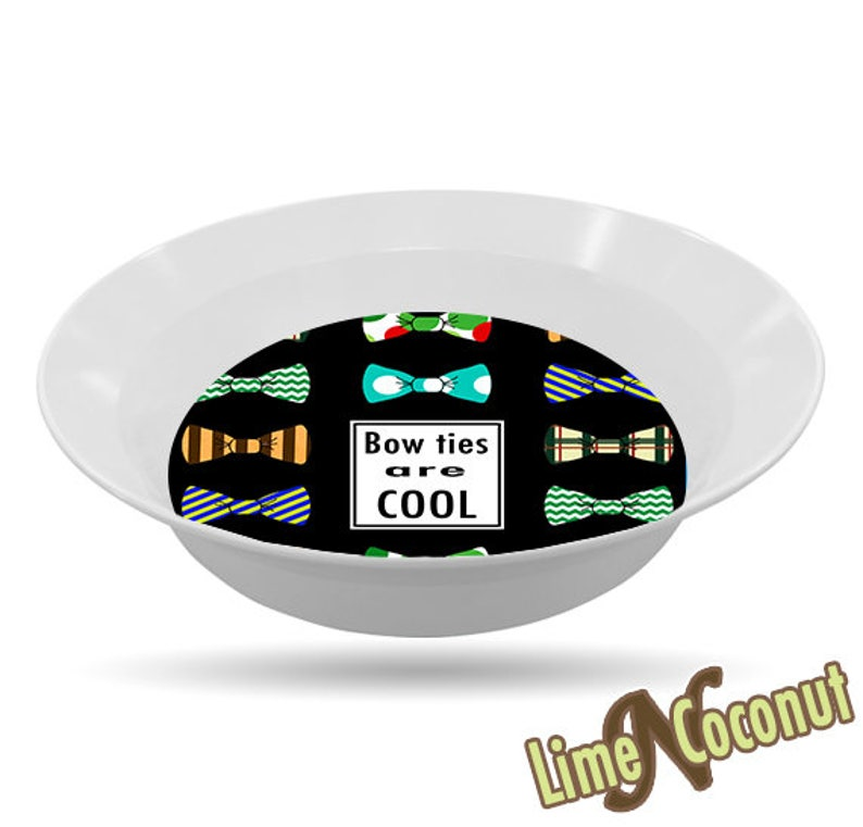 Mens Gift Kids Place Setting Teen Gift BOWL Bow Tie Neck Tie Melamine Dish- Doctor Who Bowtie Dinnerware Kids Tableware Dr Who