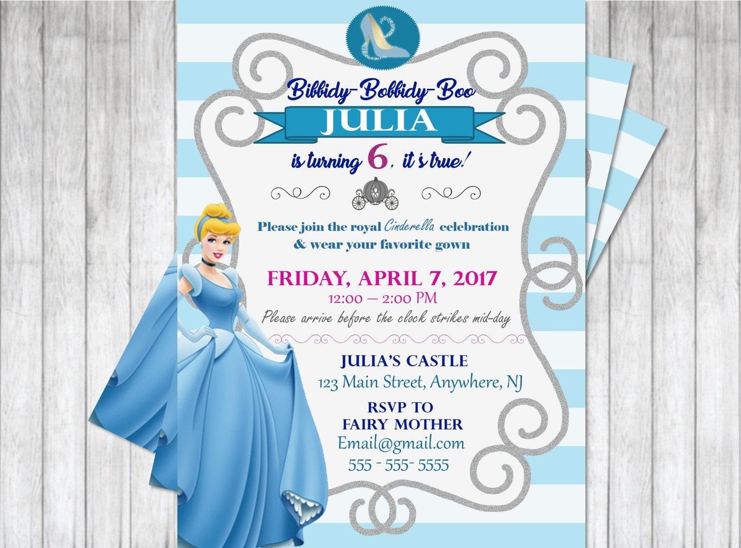 Cinderella Birthday Invitation / Twins or Siblings / | Etsy