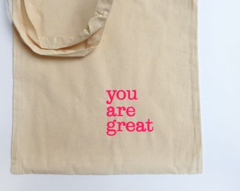 you are great hand-printed bag tote bag pink neon Typo Herr Fuchs