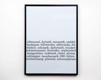 Poster Hamburg Print A3 Herr Fuchs Typo