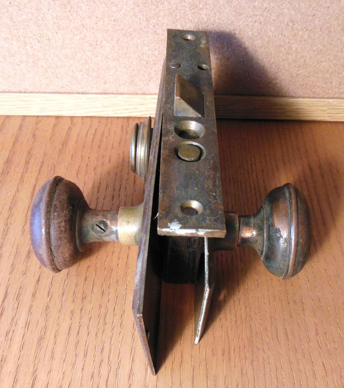 Antique Brass Architectual Door Knobs Lock Mechanism Back Plates Sold