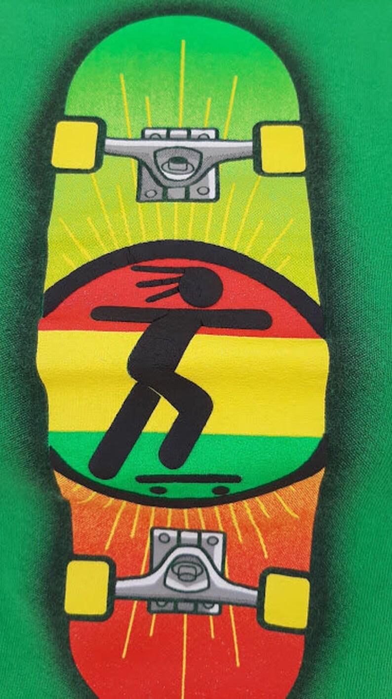 90/'s Rasta Man Skateboard Cutoff Cropped Tank Top