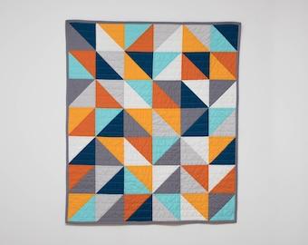 "Modern half square triangle ""HST"" quilt, blue, orange, grey, baby bedding, modern quilt, square, triangle, crib bedding, Baby, Queen, King"