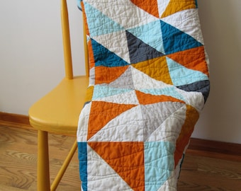 "Modern half square triangle ""HST"" baby quilt, blue, orange and grey, baby bedding, modern quilt, square, triangle, crib bedding"