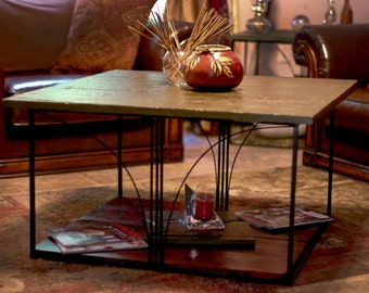 Wrought Iron and Stone Coffee Table