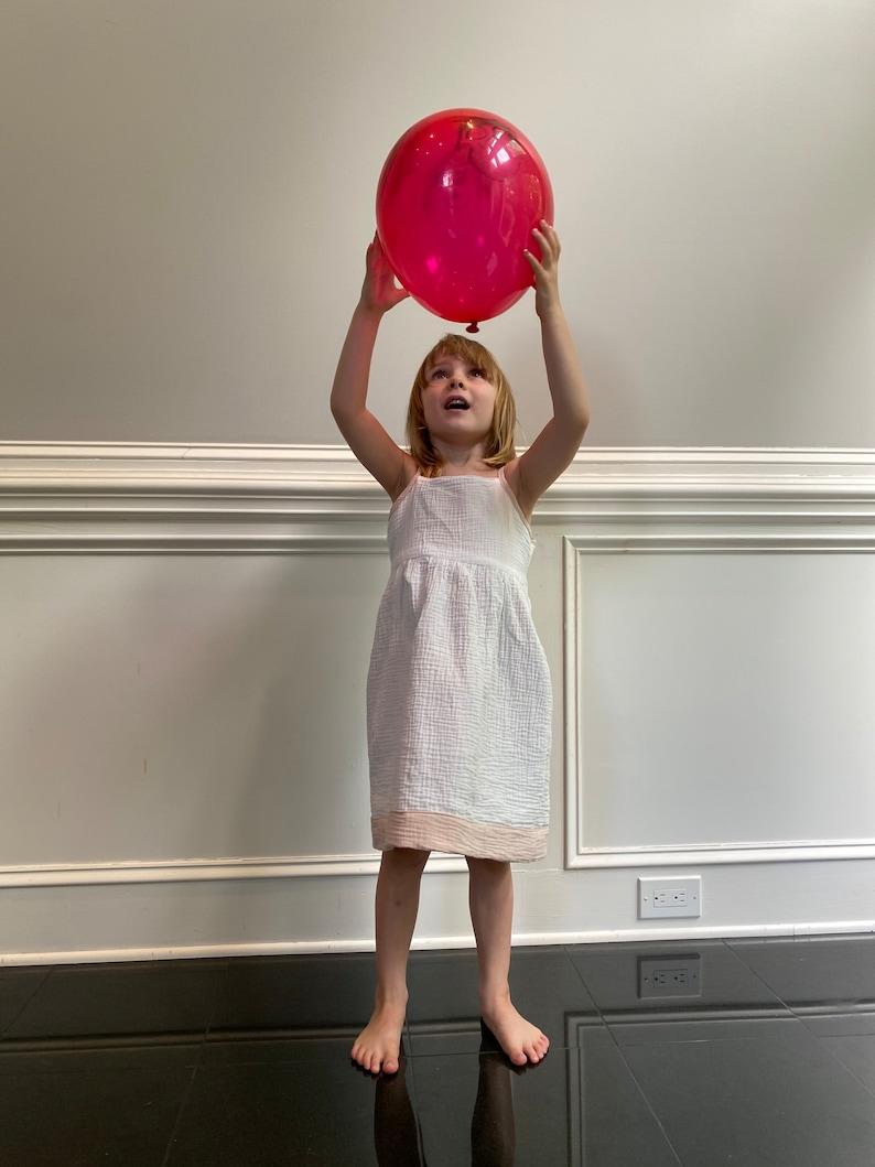 flower girl Cotton Muslin sensory dress pink dress Reversible Girls Dress soft dress twirly summer dress ballerina