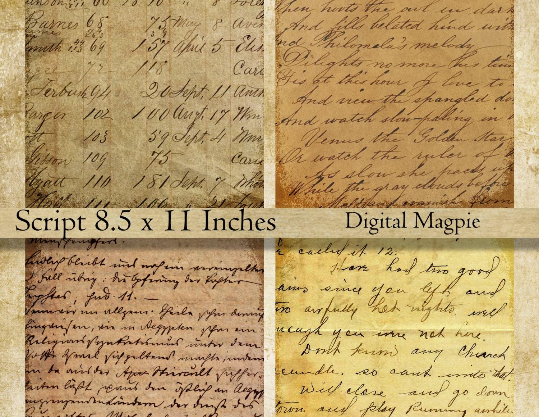 Vintage Script digital paper pack printable scrapbook old | Etsy