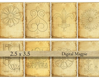 Digital paper tags Antique Vintage Victorian architecture ATC scrapbook background grungy printable download shabby digital collage sheet