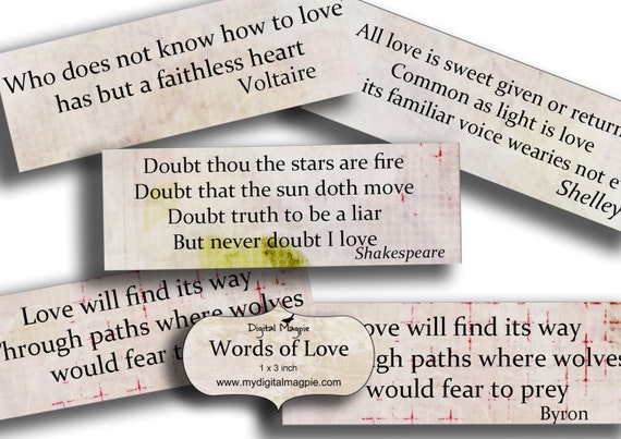 Words Of Love Inspirational Quotes Digital Collage Sheet Etsy