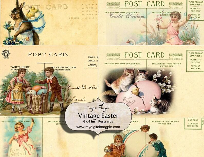 vintage easter postcards digital collage sheet printable download 6 x 4 inch craft scrapbook paper