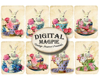 rabbits bunnies shabby chic Easter white rabbit digital scrapbook paper 2.5 x 3.5  card gift tagsATC  instant download craft image