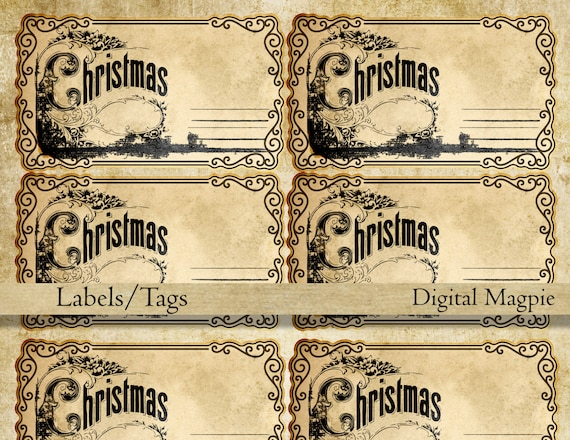 Blank printable victorian Christmas tags vintage labels   Etsy
