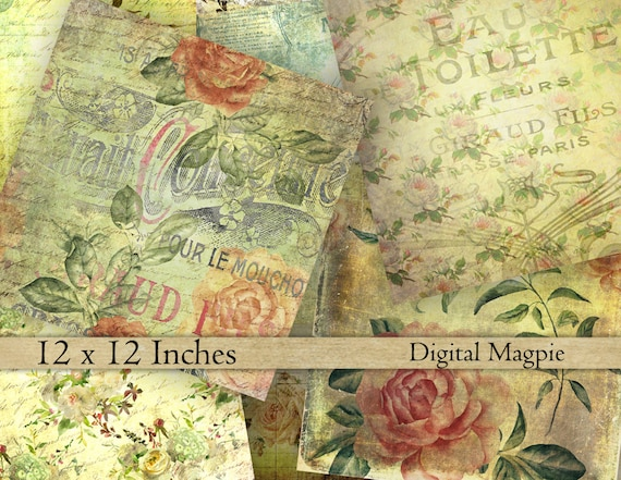 Shabby Roses Vintage Scrapbook Paper Textured Digital Paper Etsy