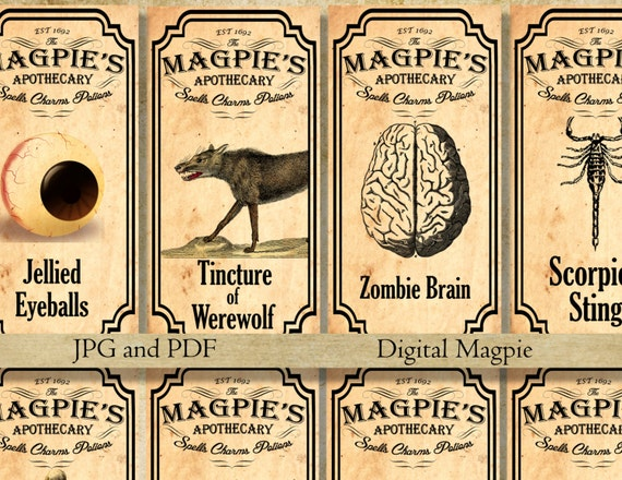 graphic regarding Free Printable Vintage Apothecary Labels known as Halloween printable apothecary labels for jars bottles tags and sbook embellishment traditional Halloween decor prompt obtain
