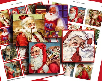 Christmas digital collage sheet - Santas - square images - 2 inch squares - printable - instant download