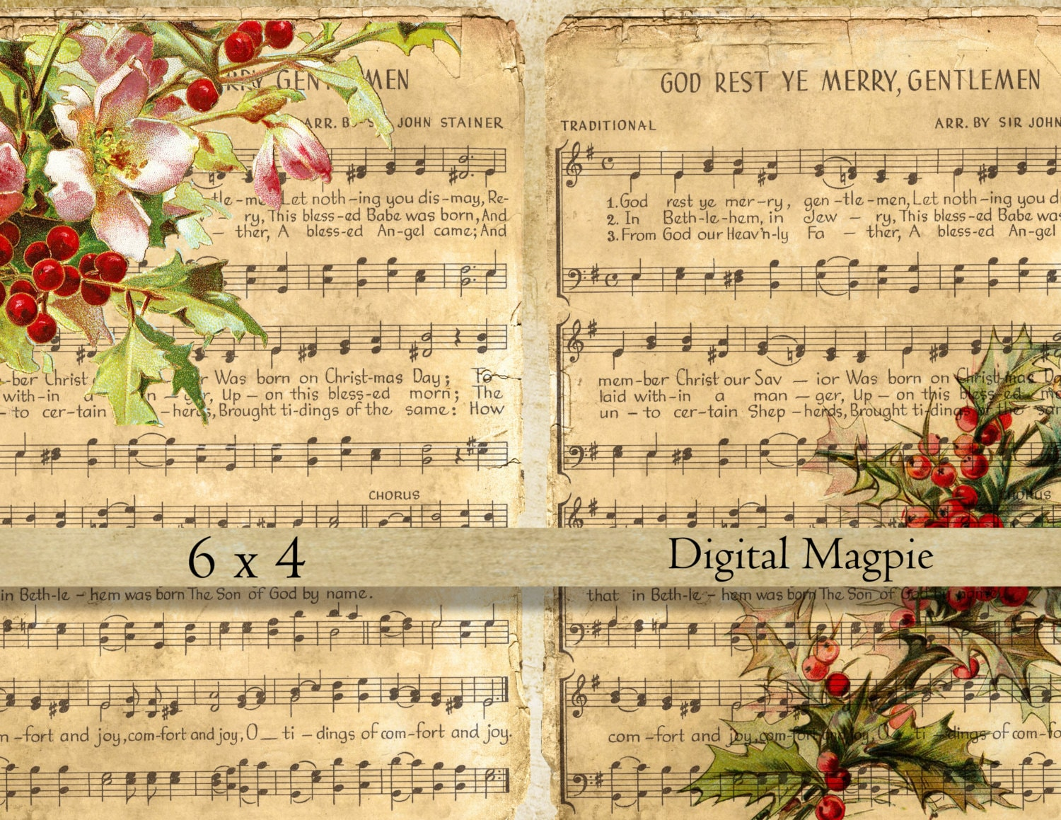 Christmas music digital collage sheet shabby vintage images on | Etsy