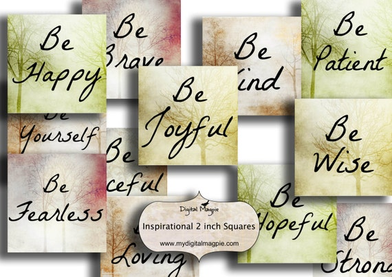 2 inch square Inspirational quotes digital collage sheet printable sayings  square images.word squares for jewelry crafts instant download