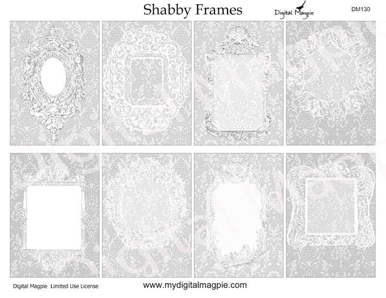 shabby chic vintage digital collage printable tag atc background 2.5 x 3.5 ACEO digital paper ephemera victorian frames