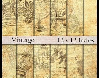 Digital paper pack Antique Vintage Victorian scrapbook paper 12x12  grungy printable download shabby digital collage sheet