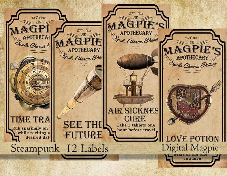 7a5b21b2e Steampunk apothecary labels for jars bottles tags and