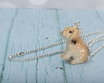 Lop Rabbit Necklace - Rabbit Pendant - Rabbit Jewelry - Lop Bunny Necklace - Bunny Jewelry - Kawaii Necklace - Rabbit Charm Pendant - Bunny