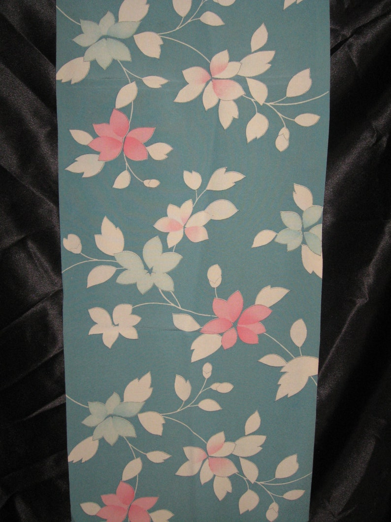 SF926 Vintage Japanese Flowers on Sky Blue Crepe Silk image 0