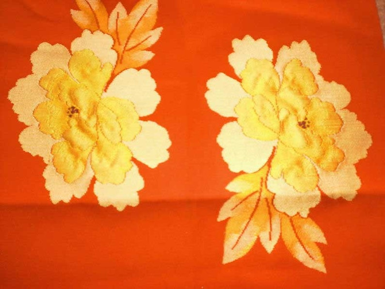 SF 374 Vintage Japanese Gorgeous Gold Flowers Obi Silk Fabric image 0