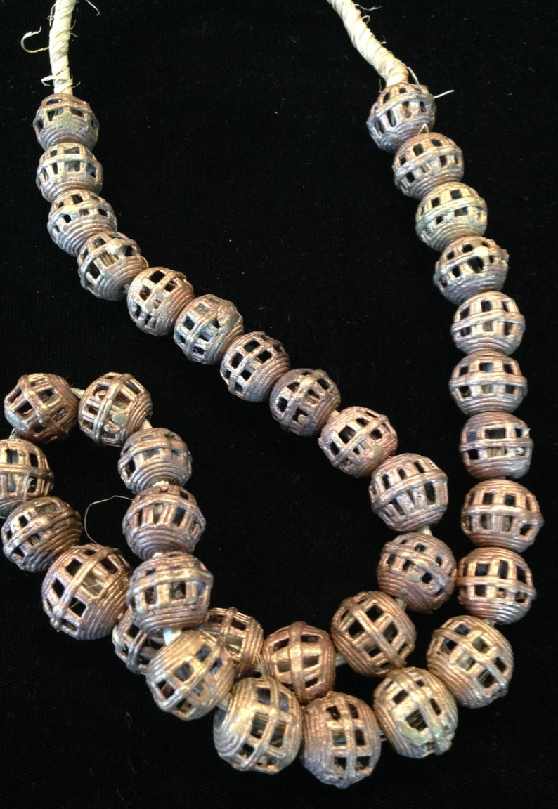 BD61 Vintage Baule Brass Round Woven Trade Beads from the image 0