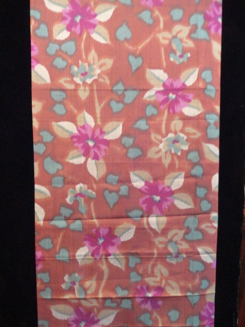 SF1009 Purple Flowers on Brown silk fabric image 0