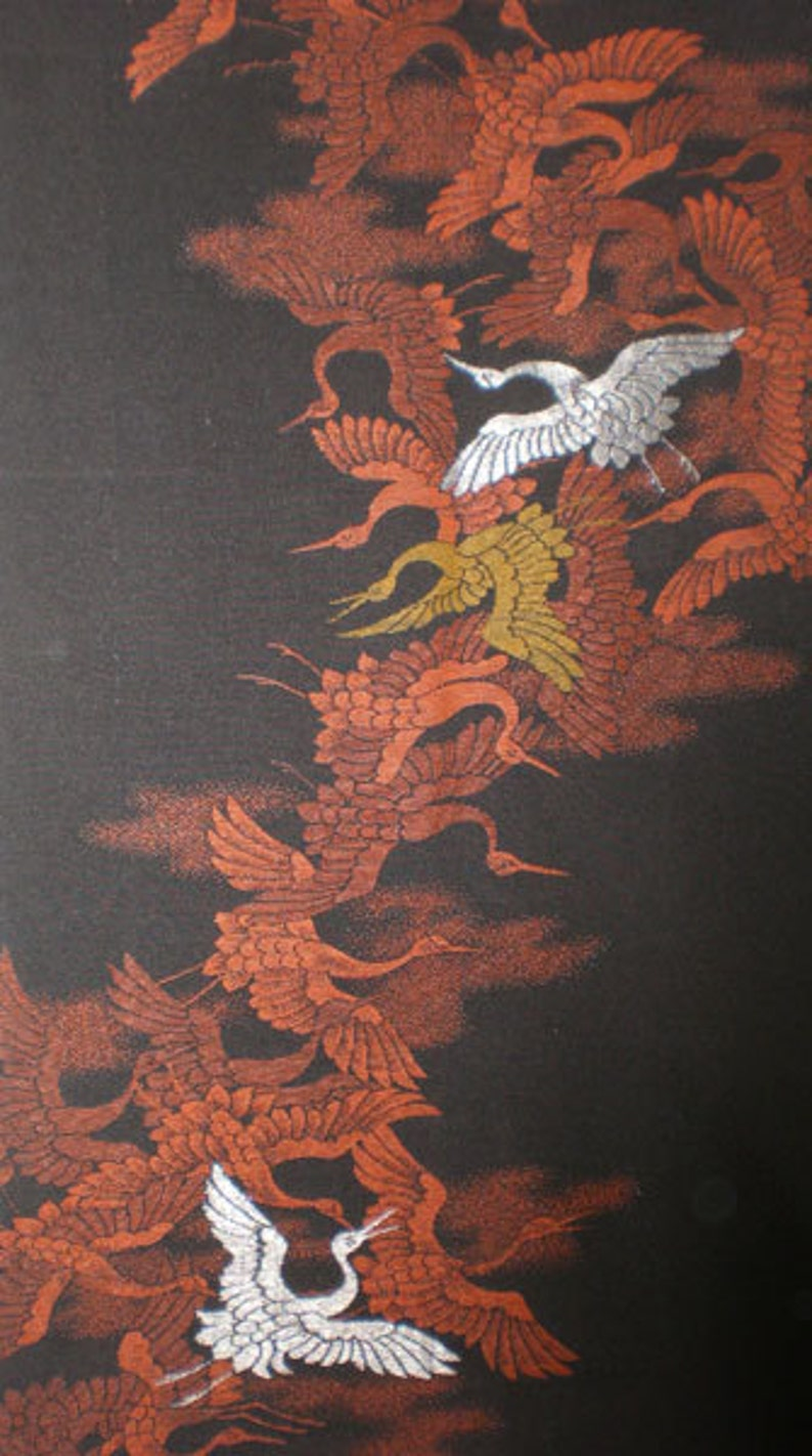 SF1008A Vintage Japanese Embroidered Red and Green Cranes on image 0