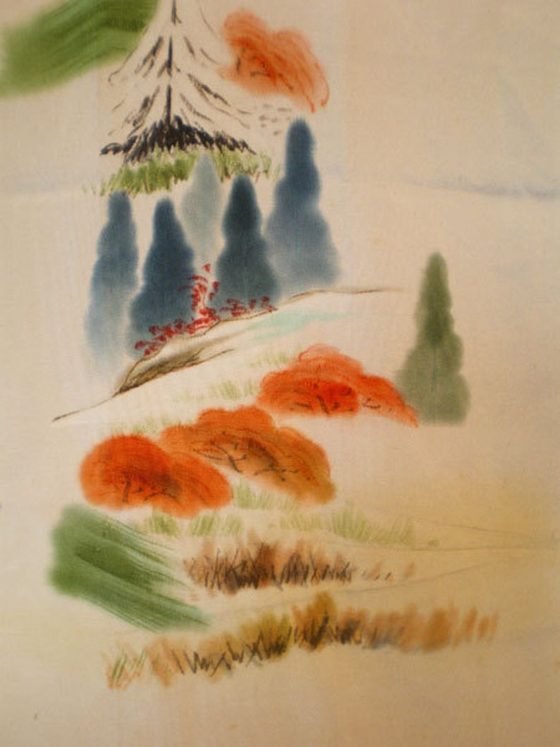 SF413 Vintage Japanese SilkWatercolor Waterfall Screen Dyed image 0