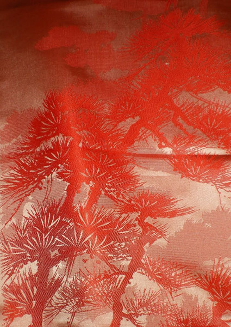 SF1010 Vintage Japanese Shimmery Orange with Textured Pines on image 0