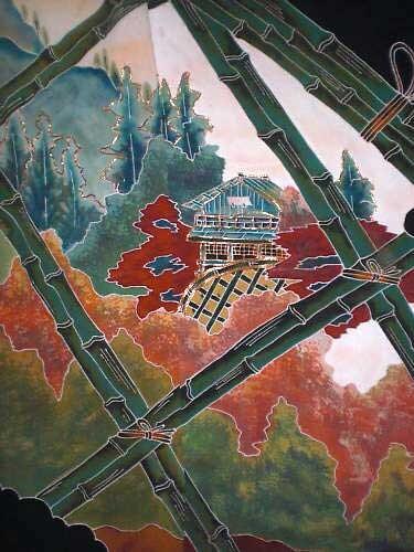 SF 222 Vintage japonais Mountain view corde à travers bambou projeté teint, corde view broderie 2 pcs assemblés a76372