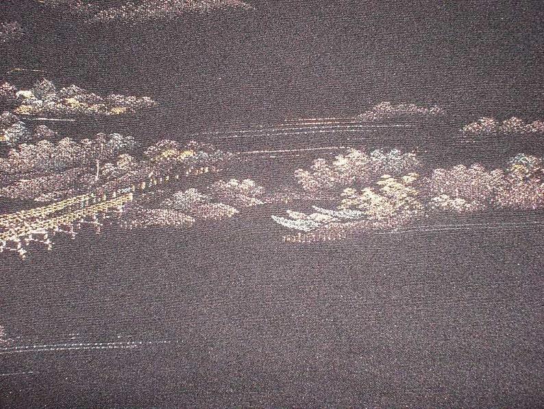 SF 319 Vintage Japanese Stunning Seaside Bridge Woven in image 0