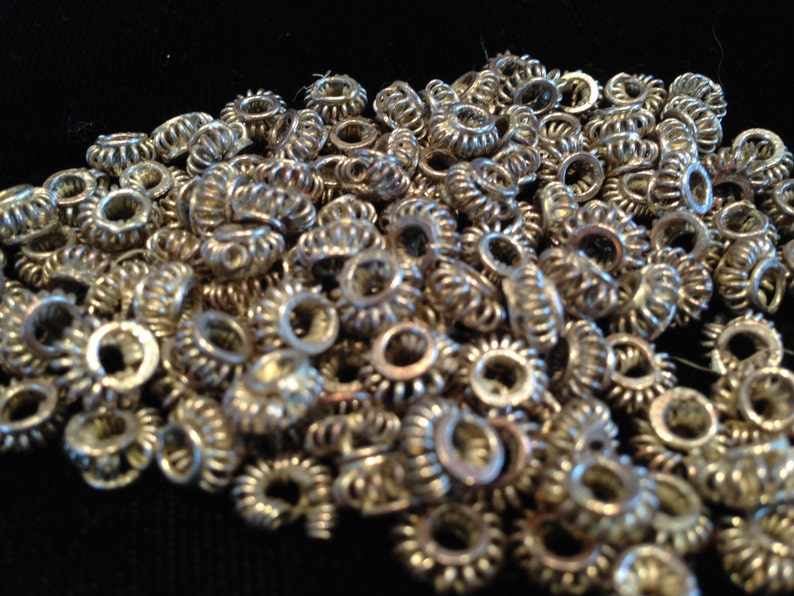 Small African Metal Silver Wire Trade Beads From Ghana image 0