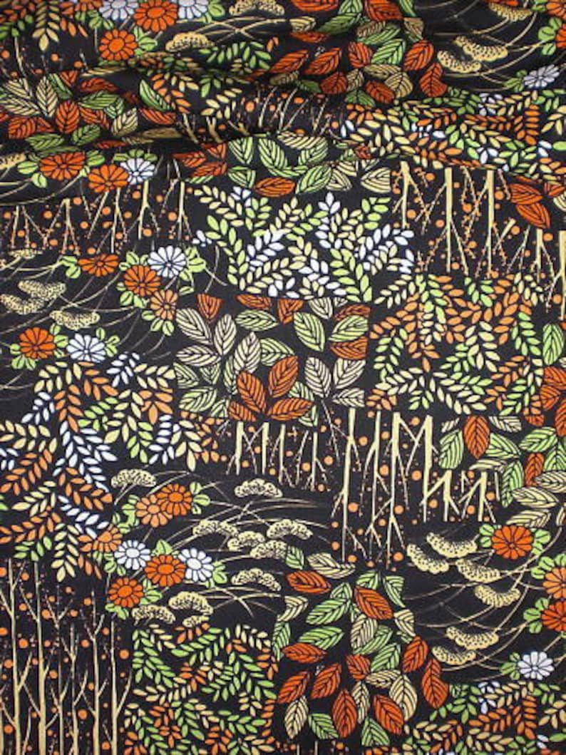 SF198 Vintage Japanese Screen Dyed Autumn Forest Scene on image 0