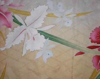 SF400B Vintage Japanese Silk Iris on Cream and Yellow