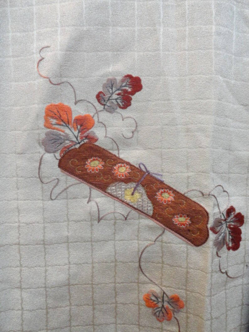 SF1380 Vintage Japanese Textured Silk with Embroidered Pattern image 0