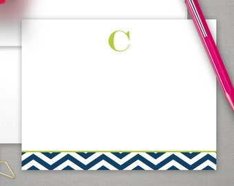 Monogrammed Stationery Cards | Personalized Blank Note Cards | Custom Flat Cards | Monogram Stationary Notecards | CHEVRON INITIAL