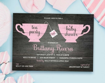 Tea Party Baby Shower Invitation | Tea for Two Baby Shower Invitations | Baby Girl | Baby Boy | PRINTED Shower Invites with Envelopes