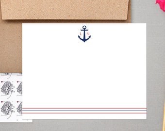 Personalized Boating Stationary | Custom Sailing Note Cards | Nautical Stationery | Initial Notecard | ANCHOR MONOGRAM