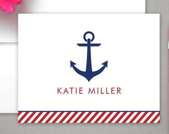 Personalized Stationery - Nautical Design & Anchor - Notecard Set - Personalized Stationary - Stationery Gift Set