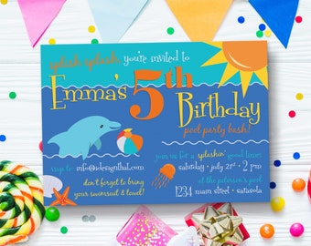 Pool Party Invitation | Birthday Invitations | Under the Sea | Kid's Birthday Invites with Dolphin | PRINTED Invitations with Envelopes