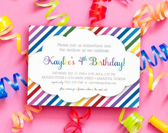 Birthday Invitations | Rainbow Sweet 16 Invitation | PRINTED Birthday Party Invites with Envelopes | Rainbow Invitation for Any Age