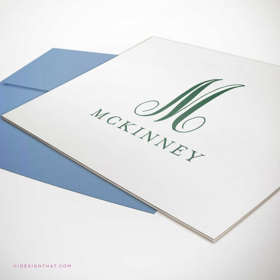 MONTEREY MONOGRAM Monogrammed Thank You Note Cards Custom Stationery with Envelopes Personalized Stationary Set of Folded Notecards