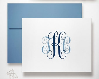 Personalized Stationary Set of Monogram Notecards | Monogrammed Wedding Stationery | Custom Thank You Note Cards | TRADITIONAL SCRIPT
