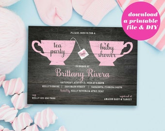 PRINTABLE Tea Party Baby Shower Invitation | Tea for Two Baby Shower Invitations | Instant Download Shower Invite | Baby Girl | Baby Boy