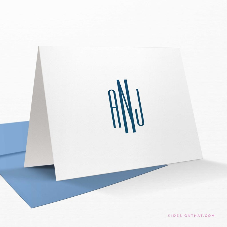 Minimalist custom stationery set Modern stationary for women and men 10 flat personalized cards with envelopes