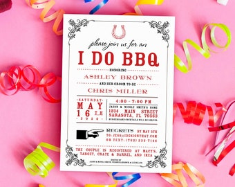 I Do BBQ Bridal Shower Invitation | Wedding Shower or Couples Shower I Do BBQ Invitation | PRINTED Couples Wedding Shower Invite w/Envelopes
